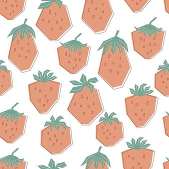パステルカラーの大きな新鮮なイチゴとのシームレスなパターン。夏のベリーと白い背景。衣類、テキスタイル、壁紙のスタイルの子供のためのフラットのイラスト。ベクター