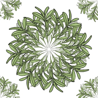 Seamless pattern with big and small mandalas of olive branches