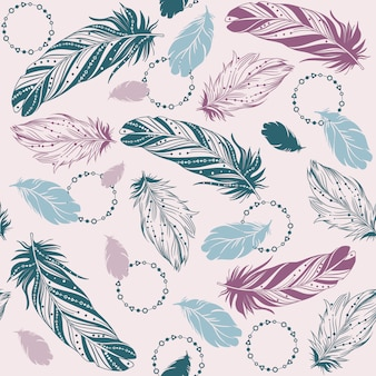 Seamless pattern with bird feathers. hand drawn illustration. ethnic design.