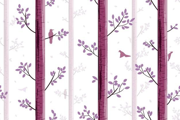 나무에 새와 함께 완벽 한 패턴 프리미엄 벡터
