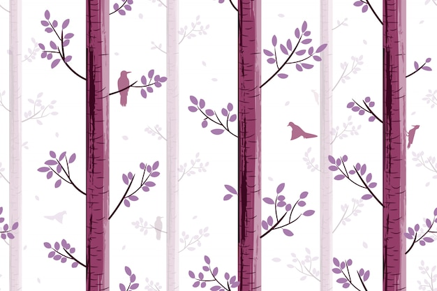 Seamless pattern with bird in tree
