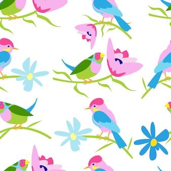 흰색 배경에 새와 꽃이 있는 원활한 패턴 벡터 스톡 이미지는 흰색에