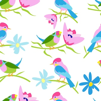 Seamless pattern with birds and flowers on a white background vector stock image on a white