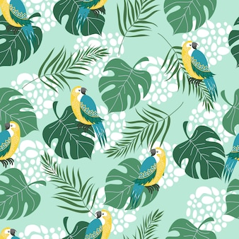 Seamless pattern with birds and leaves