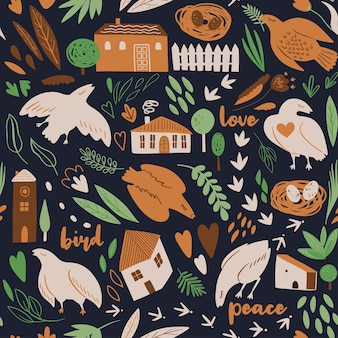 Seamless pattern with birds plants herbs nest houses fence stylish vector illustration