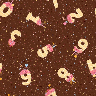 Seamless pattern with birthday cakes in the form of numbers from 1 to 10