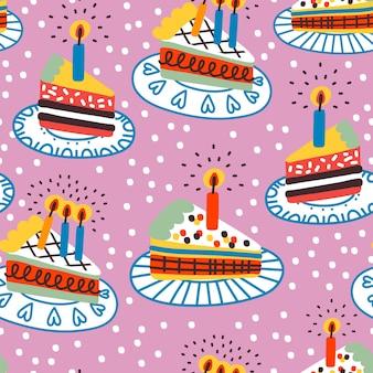 Бесшовный фон с тортами на день рождения на розовом фоне. праздничный фон. отлично подходит для ткани, текстиля, оберточной бумаги.