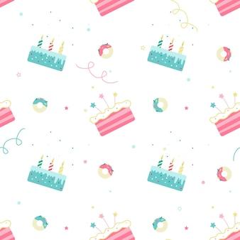 白い背景の上のバースデーケーキとのシームレスなパターン。
