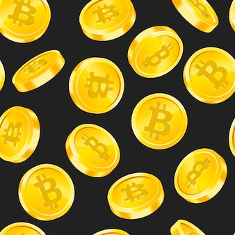 Seamless pattern with bitcoin gold coins in different angles on black background. digital currency money concept. symbol of crypto currency, blockchain technology