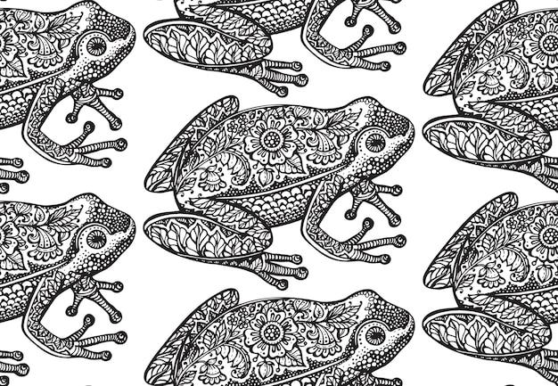 Бесшовный фон с черно-белой декоративной лягушкой каракули и цветочным