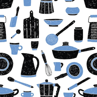 Seamless pattern with black and blue kitchen utensils, tableware, dishes and tools