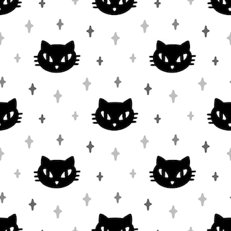 Seamless pattern with black cat and stars