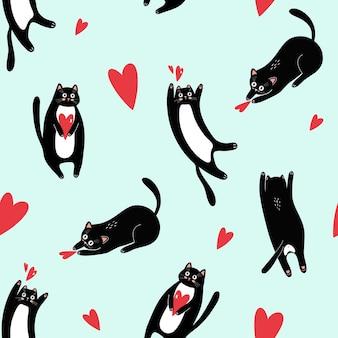 バレンタインデーの青い背景に黒猫とハートとのシームレスなパターン