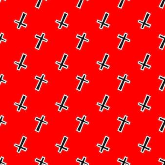 빨간색 배경 벡터 일러스트 레이 션에 검은 십자가와 원활한 패턴