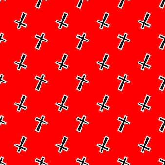 Seamless pattern with black crosses on a red background vector illustration