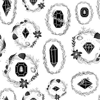 Seamless pattern with black crystals diamond minerals gemstones line art illustration