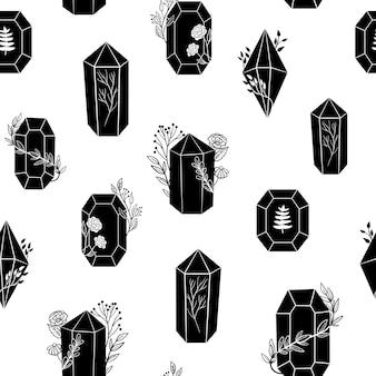 Seamless pattern with black crystals gems diamonds minerals gemstones line art