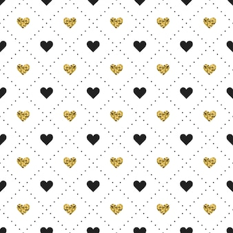 Seamless pattern with black and gold heart