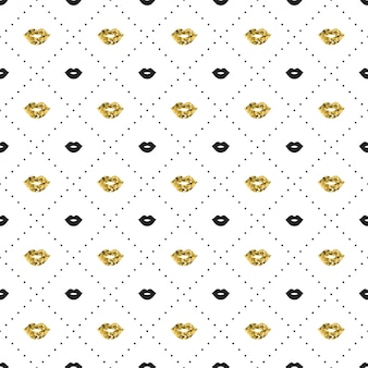 Seamless pattern with black and gold lips kiss shapes.