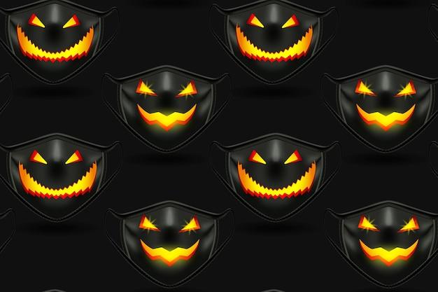 ハロウィーンのための黒い医療マスクとのシームレスなパターン。怖い彫刻が施された銃口付き。黒の背景にリアルなイラスト。ベクター。