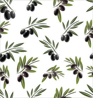 Seamless pattern with black olive tree branches on white background