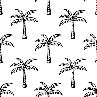 Seamless pattern with black palm tree