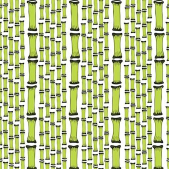 Бесшовные шаблон с черными силуэтами бамбуковых деревьев на белом фоне