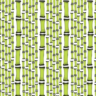 Seamless pattern with black silhouettes bamboo trees on white background