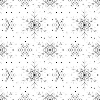 白い背景の上の黒い雪片とのシームレスなパターン。新年、クリスマス、休日、デザインのためのお祝いの冬の伝統的な装飾。シンプルなラインリピートスノーフレークの飾り