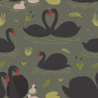Бесшовный фон с черными лебедями и выводком лебедей, плавающих в пруду или озере среди водных растений