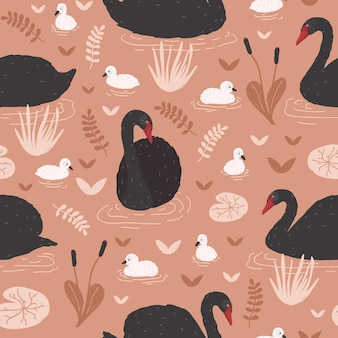 Seamless pattern with black swans and brood of cygnets floating in pond or lake among water lilies and reeds