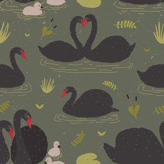 Seamless pattern with black swans and brood of cygnets floating in pond or lake among water plants