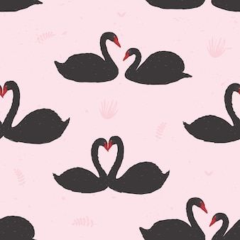 Seamless pattern with black swans floating in pond or lake among water plants