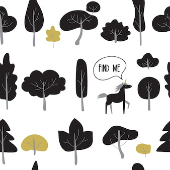 Seamless pattern with black trees and plants.