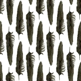 Бесшовный узор с черными акварельными перьями. черное перо ворона. векторные реалистичные иллюстрации.