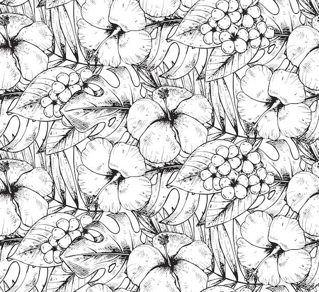 Seamless pattern with black and white hand drawn tropical plants and flowers with watercolor texture. summer hawaiian  background.