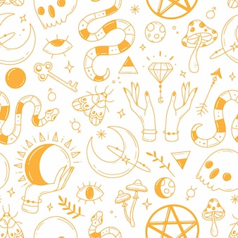 Seamless pattern with black and white magic doodle elements on the theme of esotericism magic