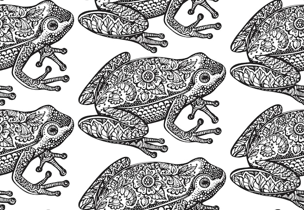 Seamless pattern with black and white ornate doodle frog and floral