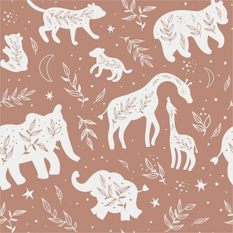 Seamless pattern with black and white silhouettes of wild animals and their cubs.
