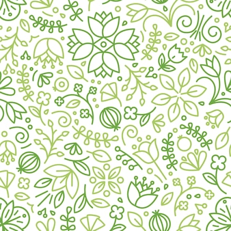 흰색 바탕에 녹색 등고선으로 그린 개화 식물과 함께 매끄러운 패턴입니다. 초원 꽃과 꽃 배경입니다. 포장지를 위한 현대적인 라인 아트 스타일의 계절 벡터 삽화.
