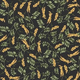 Бесшовный фон с цветущими хохлатыми цветами и листьями вики на черном фоне.