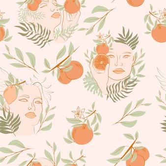 咲く女性の肖像画、果物、葉とのシームレスなパターン。線画の背景