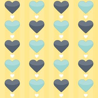Бесшовный фон с голубыми и мятными сердцами на желтом. векторная иллюстрация