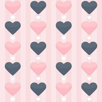 Бесшовный фон с голубыми и розовыми сердечками на розовом. векторная иллюстрация