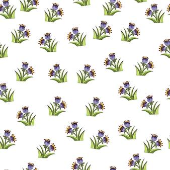 블루 벨 장식 인쇄와 함께 완벽 한 패턴입니다. 격리 된 식물 작품입니다. 꽃 배경입니다. 포장지 및 패브릭 질감을 위한 그래픽 디자인. 벡터 일러스트 레이 션.