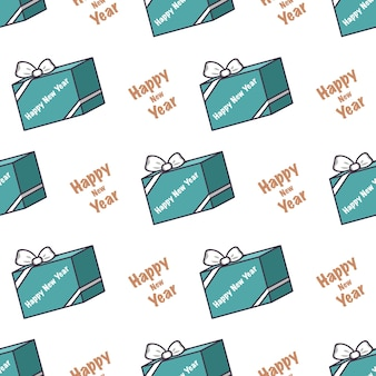 Seamless pattern with blue boxes of gifts and the inscription happy new year festive print for chris...
