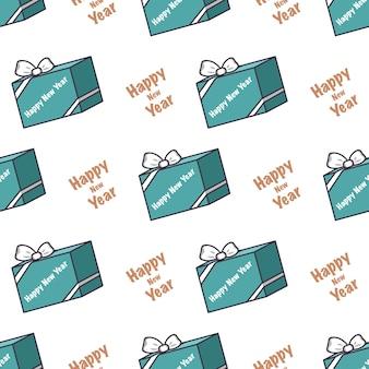 ギフトの青い箱とクリスのための碑文の新年あけましておめでとうございますお祝いのプリントとのシームレスなパターン...