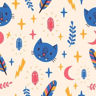 青い猫、月、クリスタルとのシームレスなパターン。