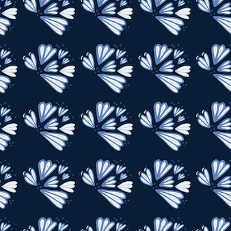 Seamless pattern with blue contoured flower shapes. dark navy background. simple floral backdrop. ed for wallpaper, textile, wrapping paper, fabric print.  illustration.