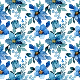 Seamless pattern with blue flower watercolor